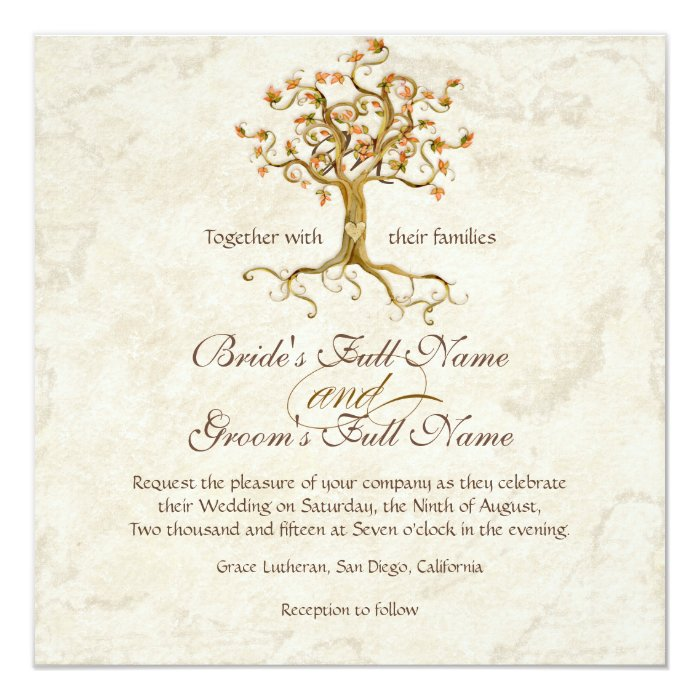 Swirl Tree Roots Antiqued Parchment Wedding Card