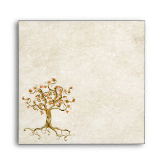 Swirl Tree Roots Antiqued Parchment Wedding Envelope