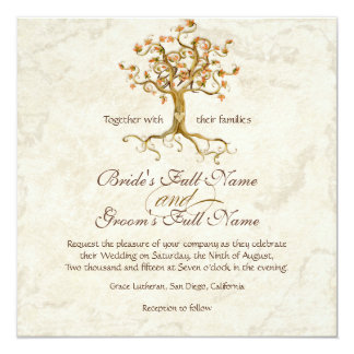 Swirl Tree Roots Antiqued Parchment Wedding 5.25x5.25 Square Paper Invitation Card