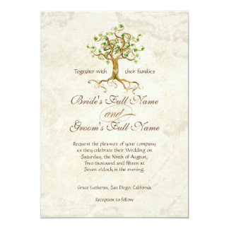 Swirl Tree Roots Antiqued Parchment Wedding 5x7 Paper Invitation Card