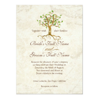 Swirl Tree Roots Antiqued Parchment Wedding 6.5x8.75 Paper Invitation Card