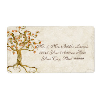 Swirl Tree Roots Antiqued Parchment Wedding Label