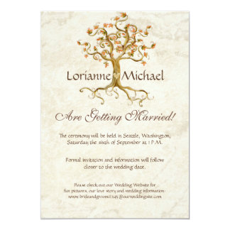 Swirl Tree Roots Antiqued Parchment Wedding Save Card
