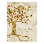 Swirl Tree Roots Antiqued Parchment Wedding Save Postcards