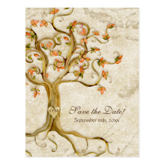 Swirl Tree Roots Antiqued Parchment Wedding Save Postcard