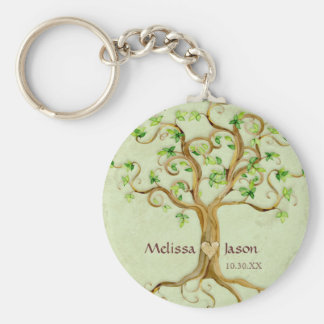 Swirl Tree Roots Antiqued Personalized Names Heart Basic Round Button Keychain