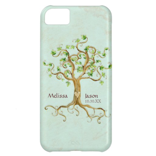 Swirl Tree Roots Antiqued Personalized Names Heart Case For iPhone 5C