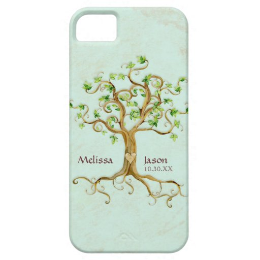 Swirl Tree Roots Antiqued Personalized Names Heart iPhone 5 Covers