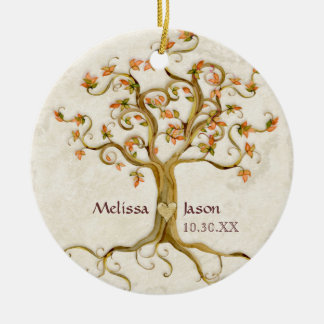 Swirl Tree Roots Antiqued Personalized Names Heart Ceramic Ornament