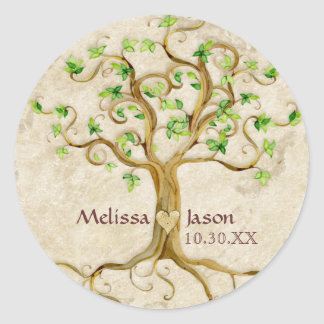 Swirl Tree Roots Antiqued Personalized Names Heart Classic Round Sticker