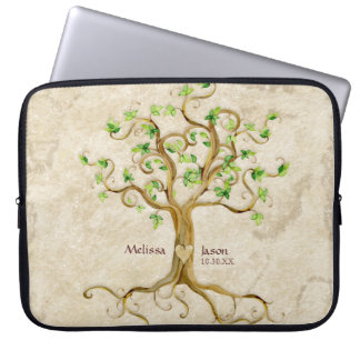 Swirl Tree Roots Antiqued Personalized Names Heart Computer Sleeves