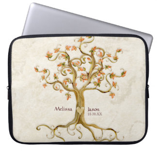 Swirl Tree Roots Antiqued Personalized Names Heart Laptop Sleeves