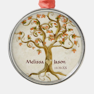 Swirl Tree Roots Antiqued Personalized Names Heart Metal Ornament