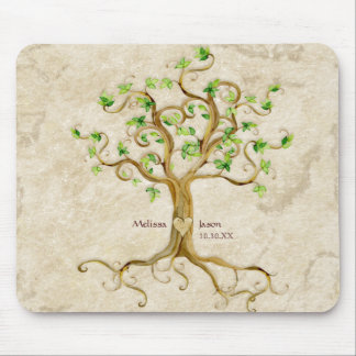 Swirl Tree Roots Antiqued Personalized Names Heart Mouse Pad