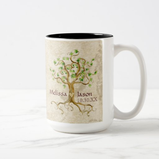 Swirl Tree Roots Antiqued Personalized Names Heart Mug