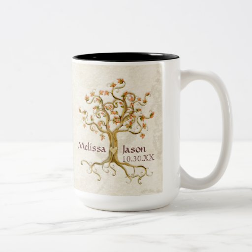 Swirl Tree Roots Antiqued Personalized Names Heart Coffee Mugs