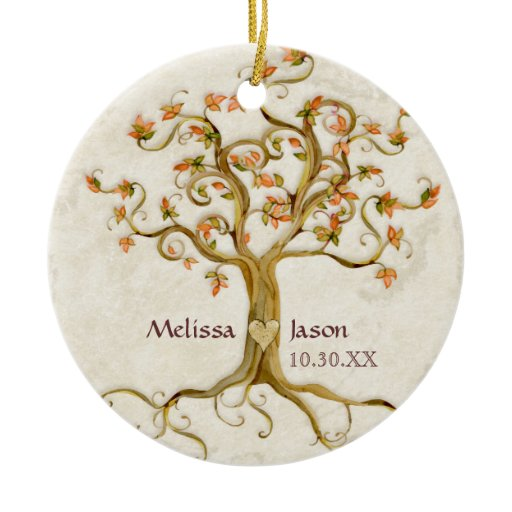 Swirl Tree Roots Antiqued Personalized Names Heart