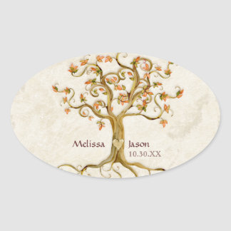 Swirl Tree Roots Antiqued Personalized Names Heart Oval Sticker
