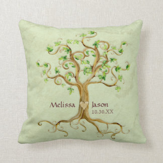 Swirl Tree Roots Antiqued Personalized Names Heart Pillow