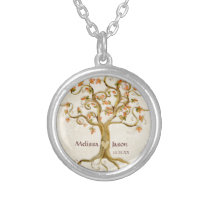 Swirl Tree Roots Antiqued Personalized Names Heart Silver Plated Necklace