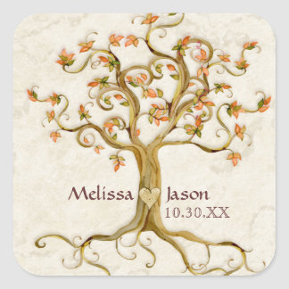 Swirl Tree Roots Antiqued Personalized Names Heart Square Sticker