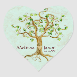 Swirl Tree Roots Antiqued Personalized Names Heart Heart Sticker