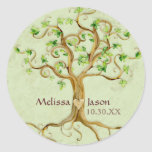 Swirl Tree Roots Antiqued Personalized Names Heart Round Stickers
