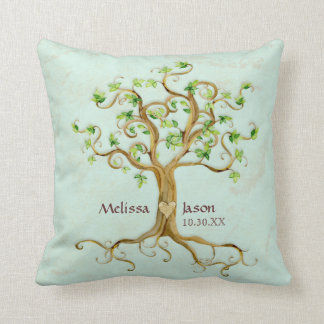 Swirl Tree Roots Antiqued Personalized Names Heart Throw Pillow