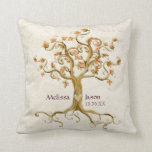 Swirl Tree Roots Antiqued Personalized Names Heart Throw Pillows