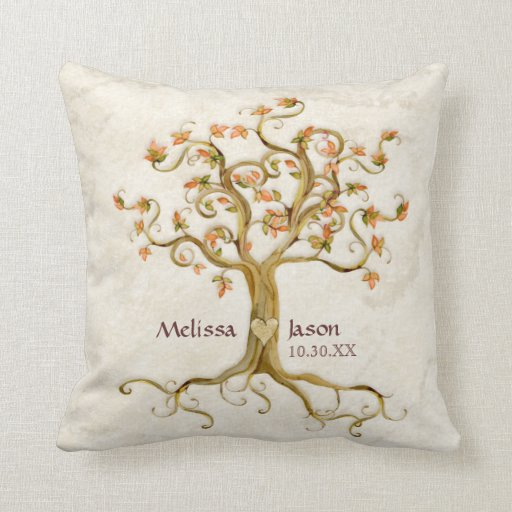 Throw Pillow Name Origin : Swirl Tree Roots Antiqued Personalized Names Heart Throw Pillows Zazzle