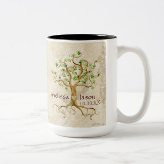 Swirl Tree Roots Antiqued Personalized Names Heart Two-Tone Coffee Mug
