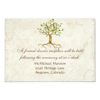 Swirl Tree Roots Antiqued Reception Invite Card