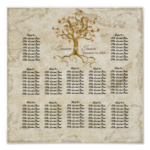 Swirl Tree Roots Antiqued Reception Seating Chart Poster