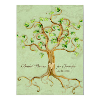 Swirl Tree Roots Antiqued Sage Bridal Shower 6.5x8.75 Paper Invitation Card