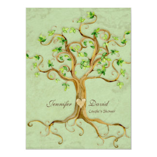 Swirl Tree Roots Antiqued Sage Couples Shower Card