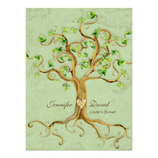 Swirl Tree Roots Antiqued Sage Couples Shower Personalized Invites
