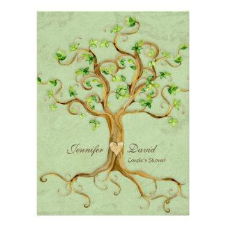 Swirl Tree Roots Antiqued Sage Couples Shower Custom Invites
