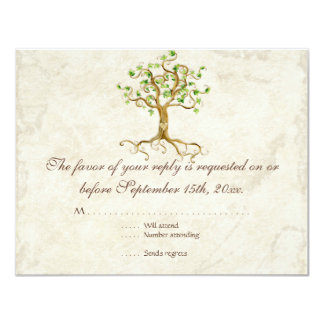 Swirl Tree Roots Antiqued Sage RSVP Response Card