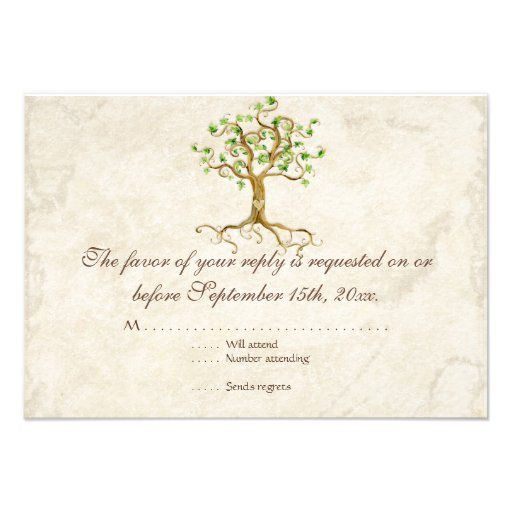 Swirl Tree Roots Antiqued Sage RSVP Response Card Personalized Announcements