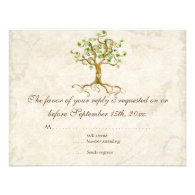 Swirl Tree Roots Antiqued Sage RSVP Response Card Invites