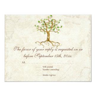 Swirl Tree Roots Antiqued Sage RSVP Response Card Invites