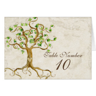 Swirl Tree Roots Antiqued Sage Table Number Cards
