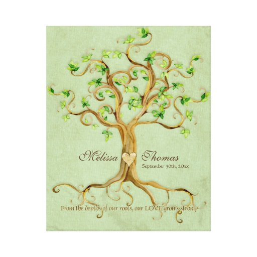 Wedding Gift Canvas Art : Swirl Tree Roots Antiqued Sage Wedding Gift Art Canvas Print Zazzle