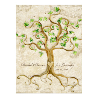 Swirl Tree Roots Antiqued Tan Bridal Shower Announcements