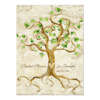 "Swirl Tree Roots Antiqued Tan Bridal Shower 6.5"" X 8.75"" Invitation Card"