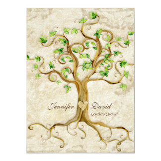 Swirl Tree Roots Antiqued Tan Couples Shower Card