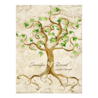 Swirl Tree Roots Antiqued Tan Couples Shower Custom Invitation
