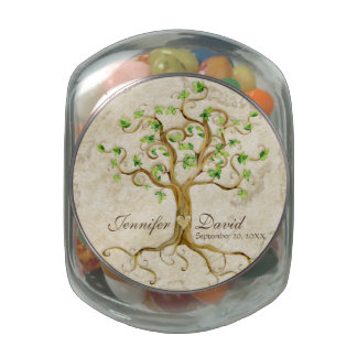 Swirl Tree Roots Antiqued Tan Reception Favors Glass Candy Jars