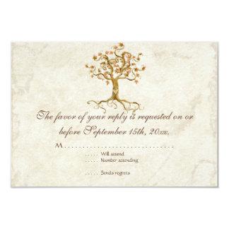 Swirl Tree Roots Antiqued Tan RSVP Response Card