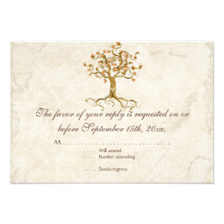 Swirl Tree Roots Antiqued Tan RSVP Response Card Personalized Invites